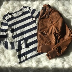 Other - Striped shirt and cognac jacket